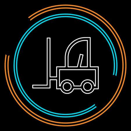 forklift icon, warehouse forklift, power lifting symbol, fork lift illustration. Thin line pictogram - outline stroke Иллюстрация