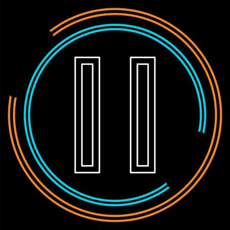 icona del pulsante di pausa vettoriale - simbolo dei media - metti in pausa la musica o il video. Pittogramma di linea sottile - tratto di contorno Vettoriali
