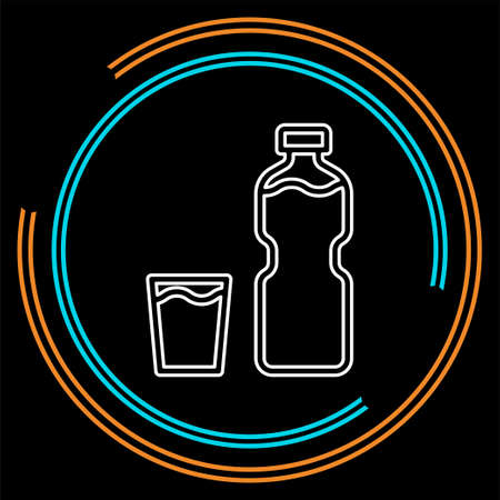vector plastic water bottle, drink container illustration - fresh mineral water. Thin line pictogram - outline stroke