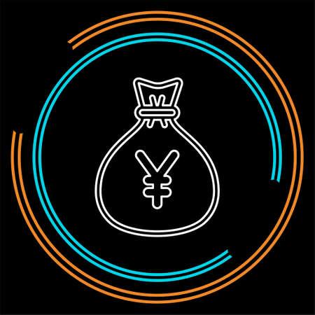 Yen money bag illustration - vector Yen symbol - money bag isolated. Thin line pictogram - outline stroke 向量圖像