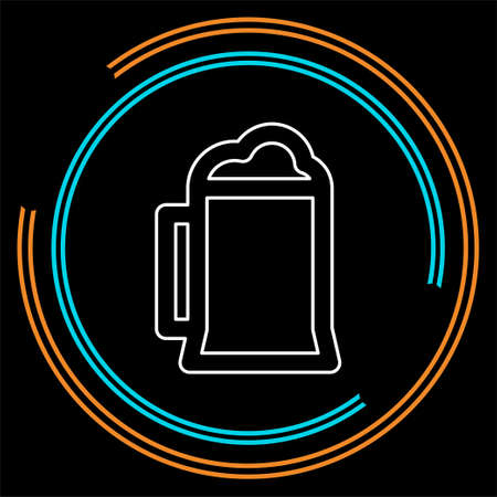 vector beer glass, mug illustration - drink alcohol sign symbol. Thin line pictogram - outline stroke
