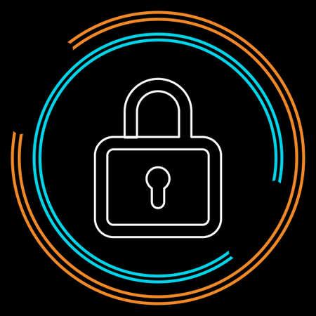 slotpictogram - vectorhangslot - veiligheidsteken - veiligheidssymbool, veilige Webillustratie. Dunne lijnpictogram - omtreklijn