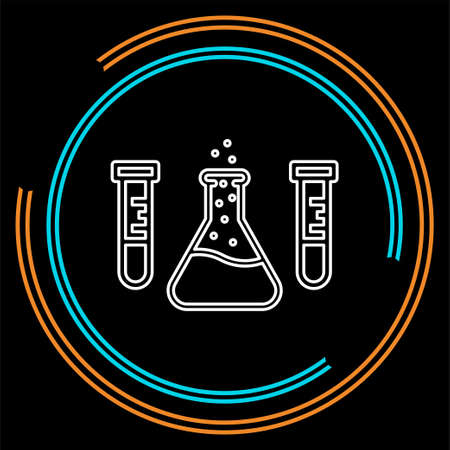 vector science Lab flask - laboratory tubes icon - chemistry and science symbol - medical equipment - scientific education. Thin line pictogram - outline stroke Illustration