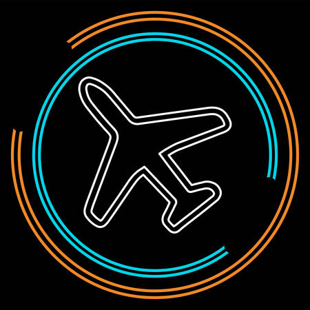Airplane icon - travel icon - fly flight symbol - vector plane. Thin line pictogram - outline stroke