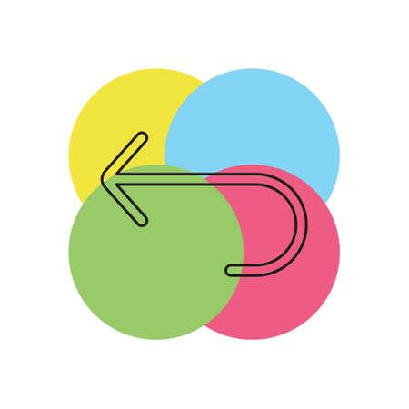 Simple Turn Back Arrow. Thin line pictogram - outline stroke