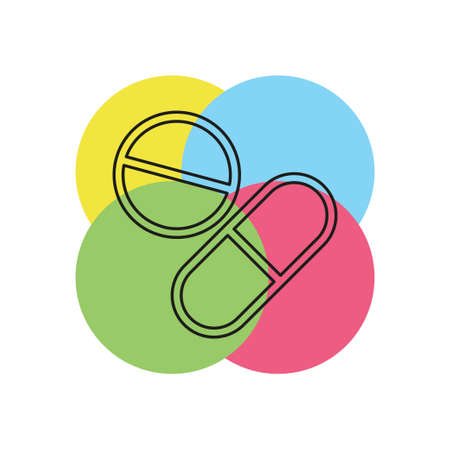 vector medical pills - medicine icon, capsule and drug - healthcare icon, health tablet, drug symbol. Thin line pictogram - outline stroke