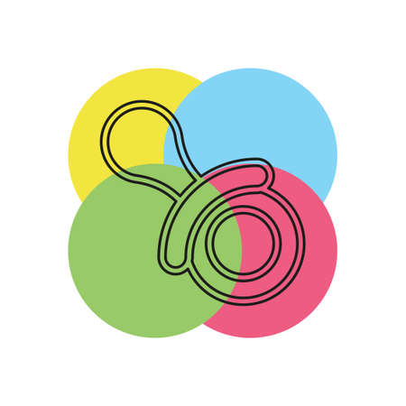 vector Child pacifier illustration - baby child symbol - sleep toy sign, childhood isolated - kid rubber toy. Thin line pictogram - outline stroke
