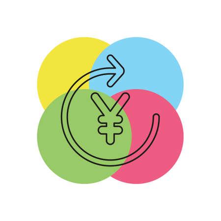 Yen sign icon, currency sign - money symbol, vector cash illustration. Thin line pictogram - outline stroke