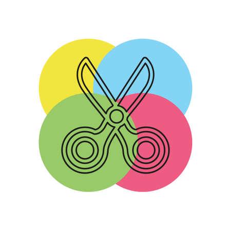vector scissor illustration isolated - vector scissors, hair cut sign, barber salon. Thin line pictogram - outline stroke