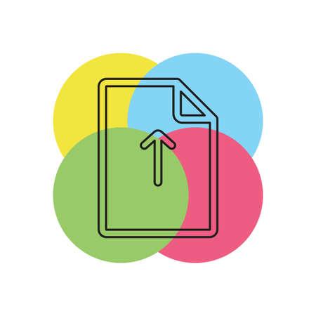 Vector Upload file icon - file document symbol - document arrow illustration. Thin line pictogram - outline stroke