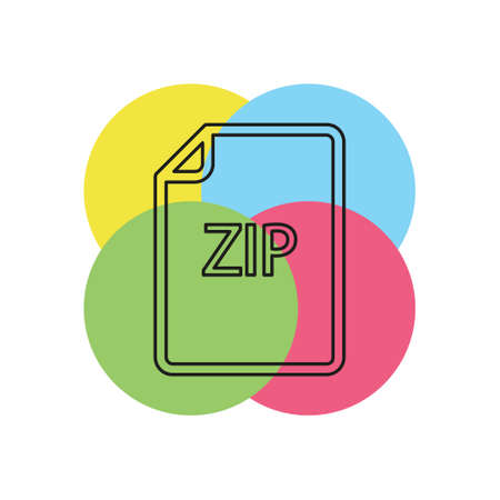 download ZIP document icon - vector file format symbol. Thin line pictogram - outline stroke