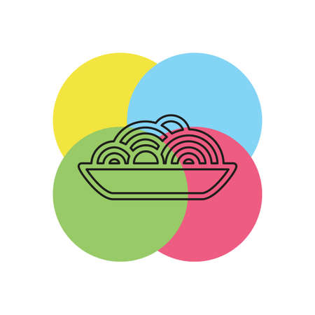 pasta plate icon - vector spaghetti illustration, noodle bowl - meal time. Thin line pictogram - outline stroke Stock Illustratie