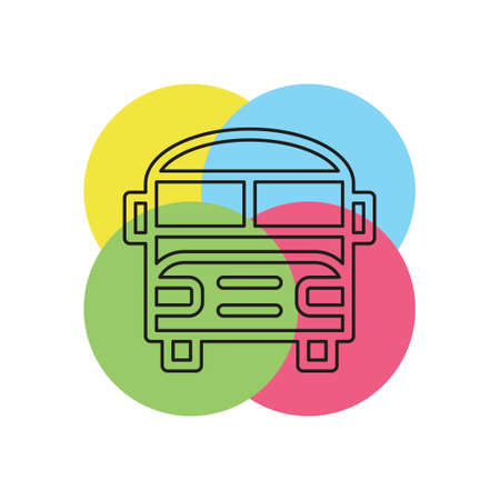 school bus icon - vector transportation vehicle. Thin line pictogram - outline stroke Illustration