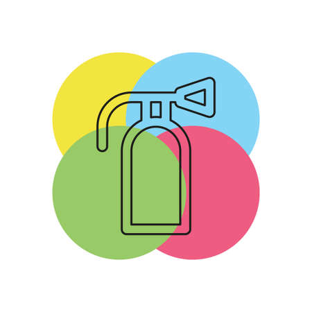 fire extinguisher icon - safety symbol - protection equipment - emergency sign. Thin line pictogram - outline stroke Illustration