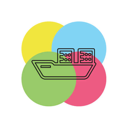 vector shipping boat illustration - travel icon - cruise boat symbol. Thin line pictogram - outline stroke Illustration
