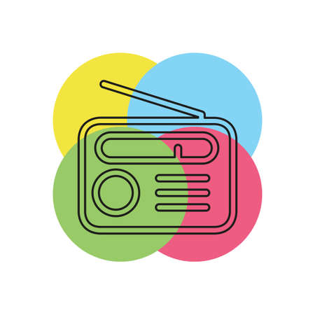 retro radio icon - media and music symbol. Thin line pictogram - outline stroke