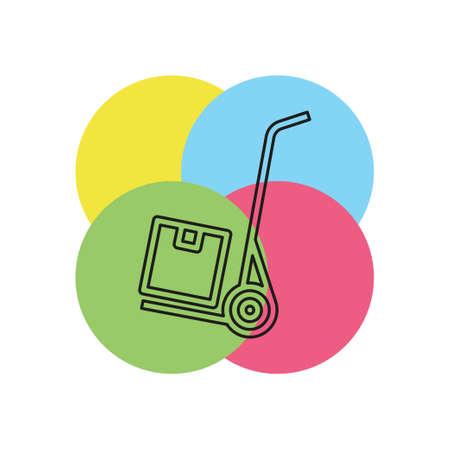 shipping inventory icon - vector cardboard - shipping package - vector carton box. Thin line pictogram - outline stroke