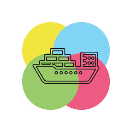vector shipping boat illustration - travel icon - cruise boat symbol. Thin line pictogram - outline stroke Illusztráció