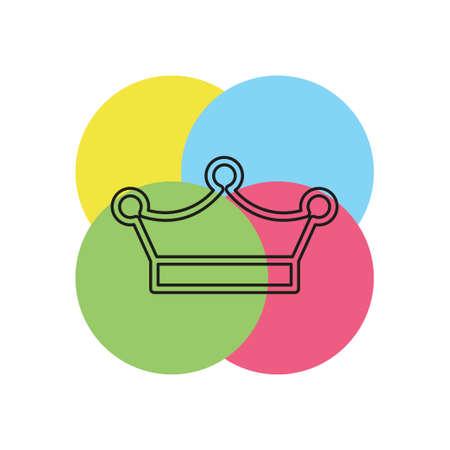 vector Crown king icon illustration, royal queen illustration isolated. Thin line pictogram - outline stroke Ilustração
