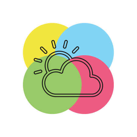 weather forecast icon, vector seasons clouds, cloudy weather. Thin line pictogram - outline stroke Illustration