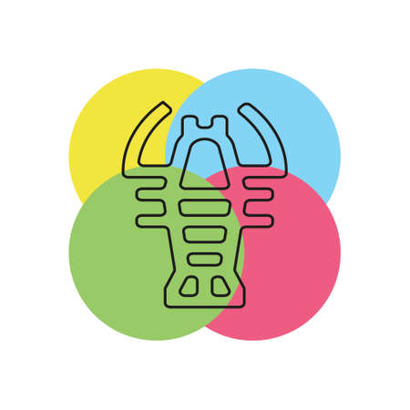 vector lobster symbol - crawfish seafood icon illustration sign. Thin line pictogram - outline stroke