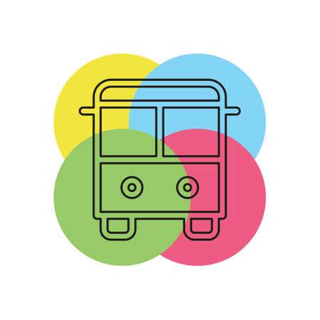 vector Bus illustration - shuttle Bus symbol, travel icon. Thin line pictogram - outline stroke Illustration