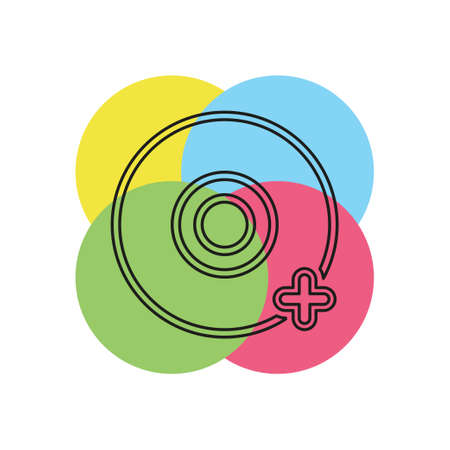 Add dvd - vector cd compact disc illustration, digital data information icon. Thin line pictogram - outline stroke