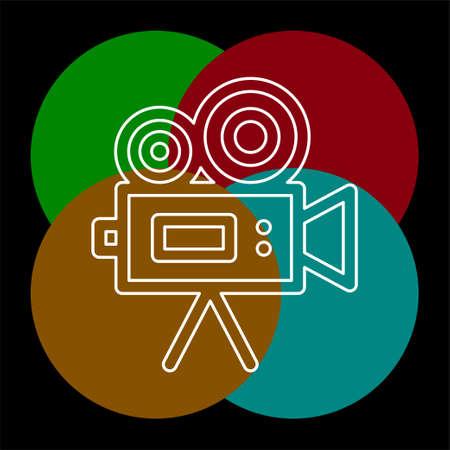 Simple Video Camera. Thin line pictogram - outline editable stroke Ilustrace