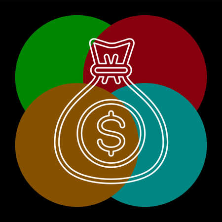 money bag - currency symbol, investment icon - banking sign, banking cash. Thin line pictogram - outline editable stroke