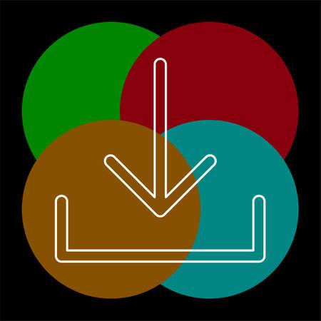 Vector Download symbol - app down load button. Thin line pictogram - outline editable stroke Ilustração