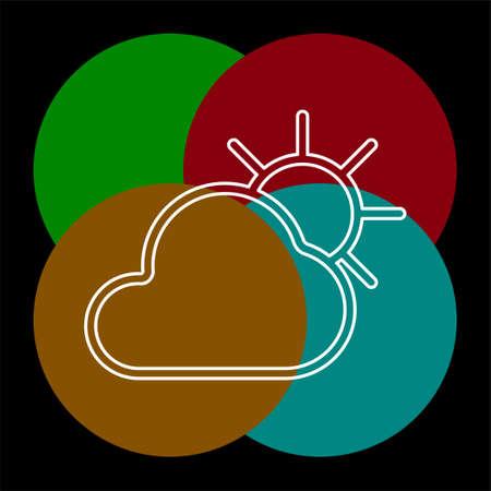 weather forecast icon, seasons clouds. Thin line pictogram - outline editable stroke Ilustração