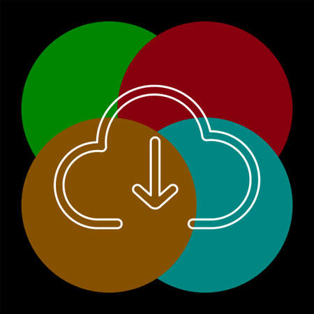 Download cloud icon, vector download illustration, cloud computing. Thin line pictogram - outline editable stroke