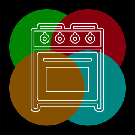 stove oven icon, vector gas stove, kitchen cooking appliance. Thin line pictogram - outline editable stroke Standard-Bild - 124923573