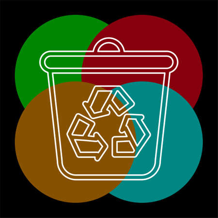 recycle icon, recycling garbage can, ecology symbol. Thin line pictogram - outline editable stroke