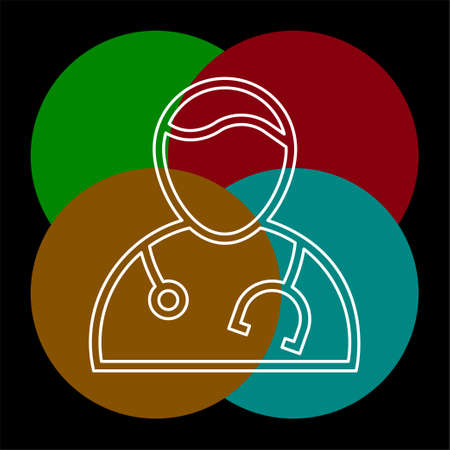 doctor assistant avatar icon, medic. Thin line pictogram - outline editable stroke
