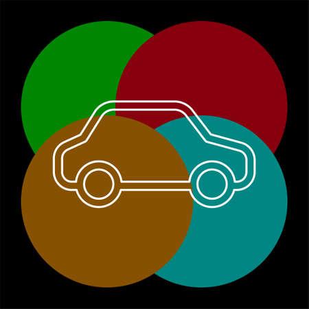 car illustration isolated - vector car, transportation vehicle - automobile design. Thin line pictogram - outline editable stroke Çizim