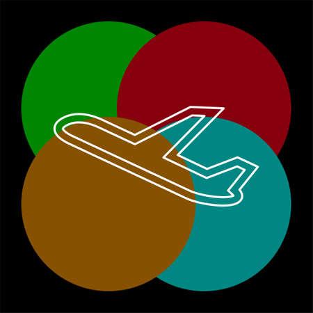 aeroplane icon - vector airplane, travel icon, flight illustration. Thin line pictogram - outline editable stroke