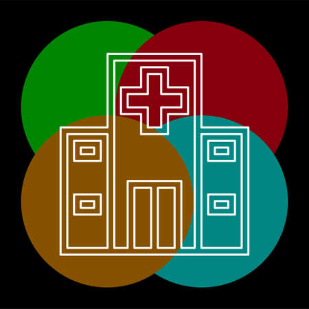 vector hospital building illustration - medical care symbol. Thin line pictogram - outline editable stroke