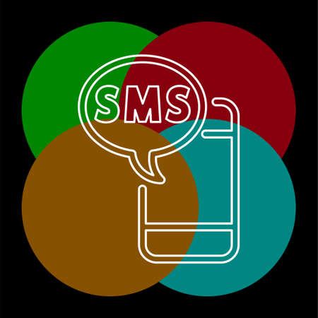 vector Mobile icon with text message - sms, communication icon. Thin line pictogram - outline editable stroke