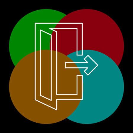 emergency exit sign, exit door icon, exit strategy - door entrance. Thin line pictogram - outline editable stroke Illusztráció