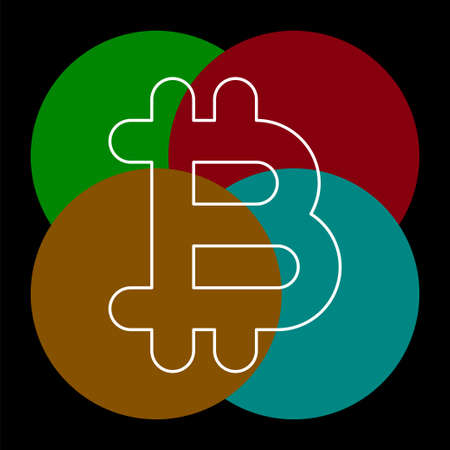 Bit coin icon, vector currency sign, bitcoin. Thin line pictogram - outline editable stroke