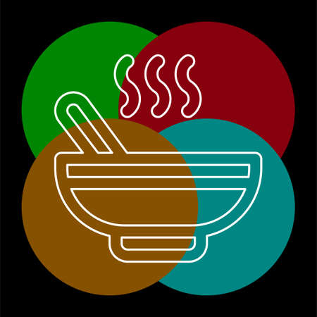 vector soup bowl illustration - restaurant meal plate. Thin line pictogram - outline editable stroke