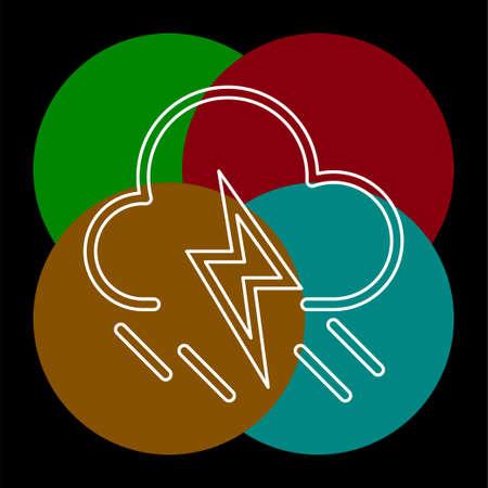 weather storm illustration, sun rain symbol - weather storm icon. Thin line pictogram - outline editable stroke