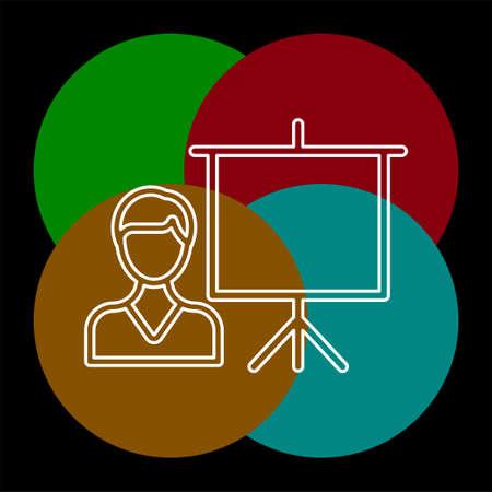 conference presentation illustration - business conference, people seminar - communication. Thin line pictogram - outline editable stroke