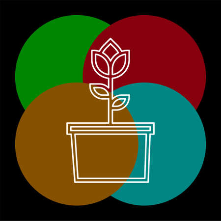 Flower icon. Rose sign - floral garden illustration, nature element, plant pot vector, gardening illustration. Thin line pictogram - outline editable stroke
