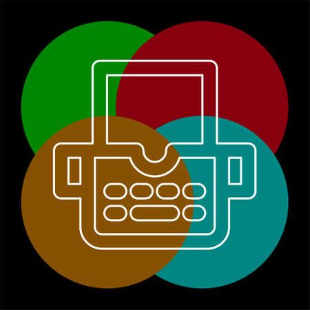 typewriter machine icon - type letter machine - keyboard typeing icon. Thin line pictogram - outline editable stroke Ilustrace