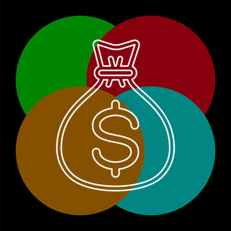 money bag icon - vector dollar sign - banking cash - finance investment icon. Thin line pictogram - outline editable stroke Vectores