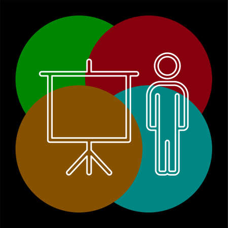 teacher icon - teacher with board - teaching board icon - vector school or classroom sign and symbol. Thin line pictogram - outline editable stroke