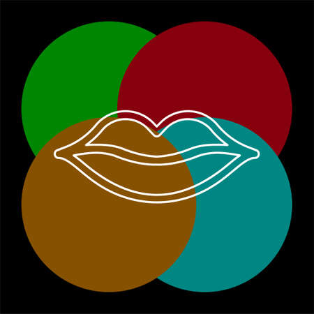 vector lips illustration - kiss icon, red lipstick - love icon. vector mouth. Thin line pictogram - outline editable stroke