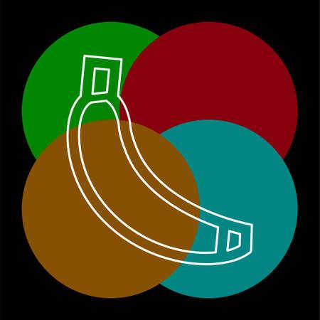 vector banana icon, fruit illustration, healthy diet, fresh tropical banana. Thin line pictogram - outline editable stroke